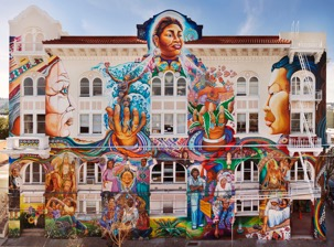 MAESTRAPEACE, Lapidge Street façade, The San Francisco Women's Building, 18th and Valencia Streets, Juana Alicia, Edythe Boone, Miranda Bergman, Susan Cervantes, Meera Desai, Yvonne Littleton and Irene Perez, © 1994, 2000, 2010.
