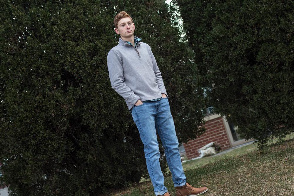Men's Early Winter Gray Half Zip Sweater Look 5