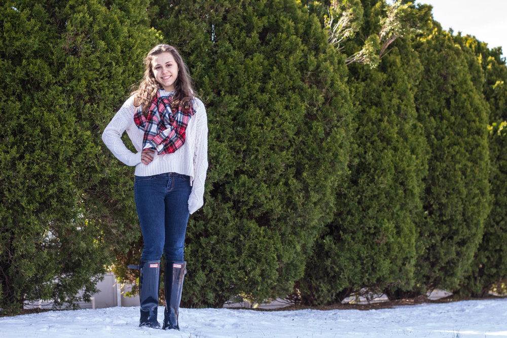 A Plaid Scarf and Knit Sweater for Fashion in the Snow 2