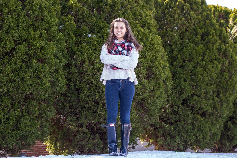 A Plaid Scarf and Knit Sweater for Fashion in the Snow 3