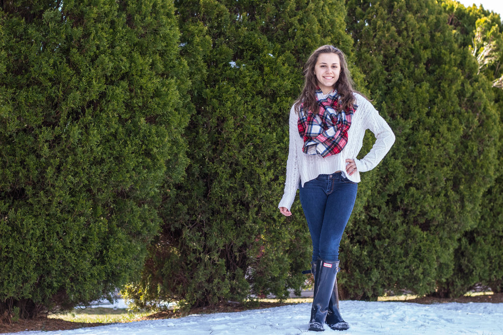 A Plaid Scarf and Knit Sweater for Fashion in the Snow 8