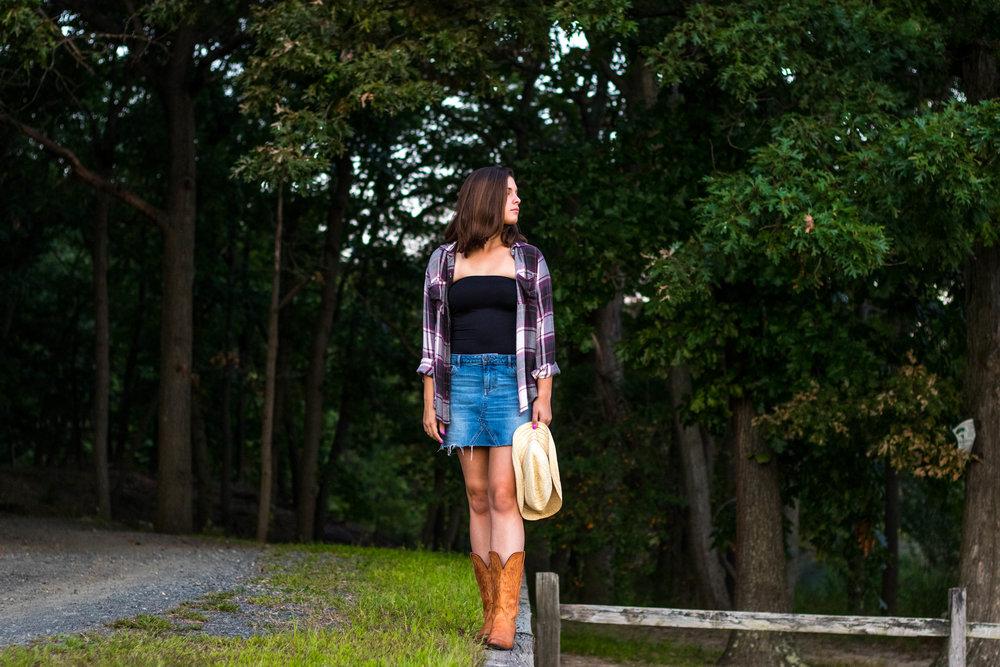 Classic Denim Skirt worn by Hannah Aitken