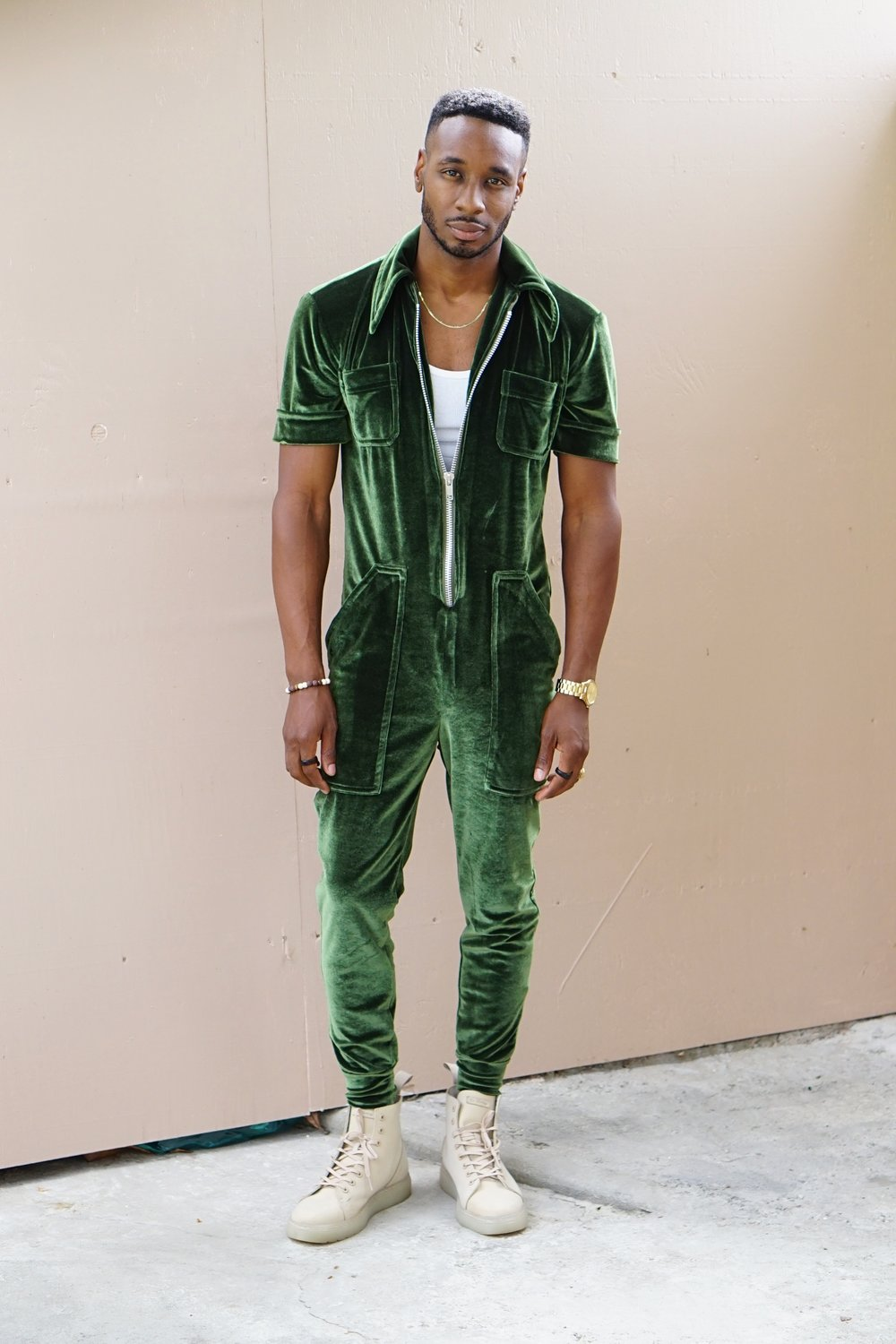 Velvet Green Jumpsuit, Self Made Clothes with Norris Danta Ford