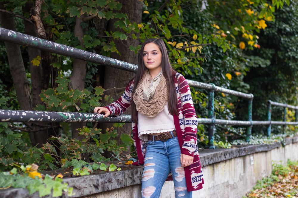 Alina Ogurek wearing a cozy long patterned cardigan