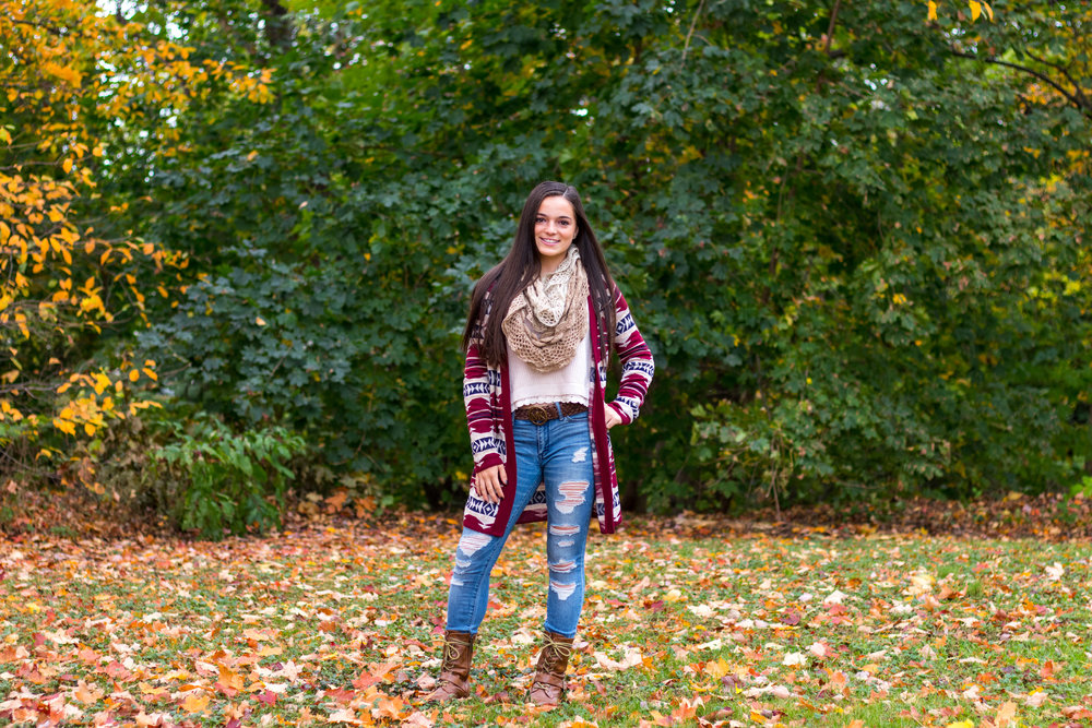 Alina Ogurek's fall fashion inspiration wearing a wine colored cardigan