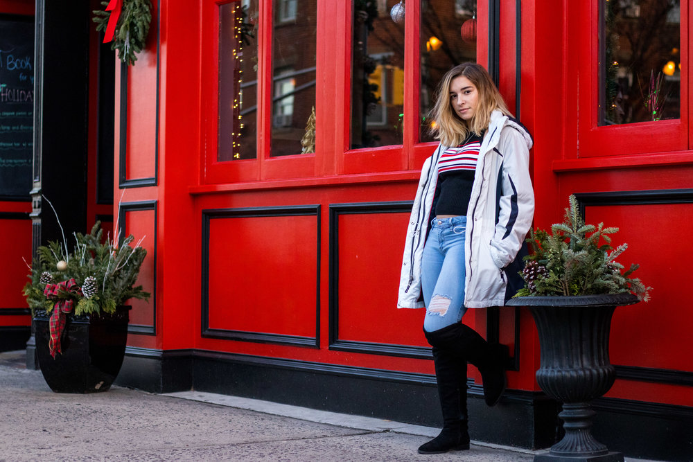 Felishia Hendra's Winter Fashion Inspiration with a white winter parka