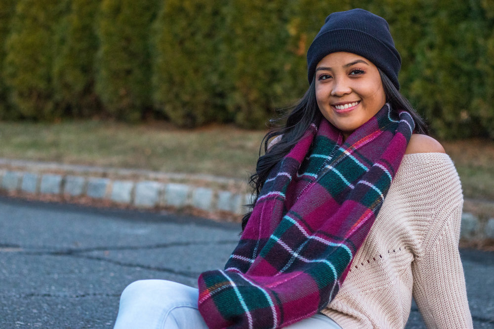Large, Plaid, Red and Green Scarf worn by Althea Miquela