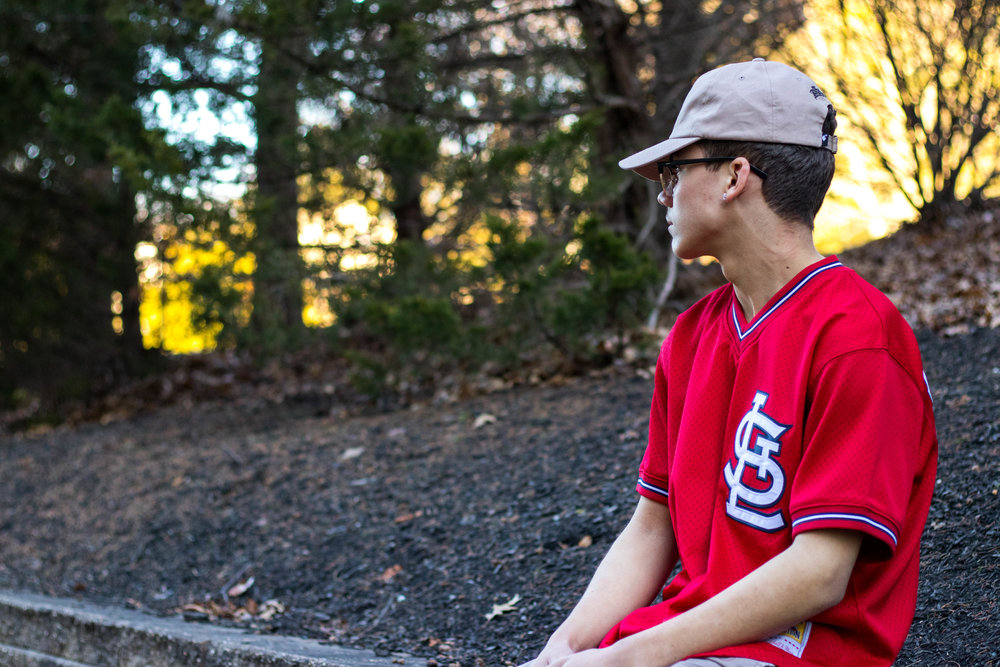 Wearing a Red Cardinals Jersey by Christian Rivera