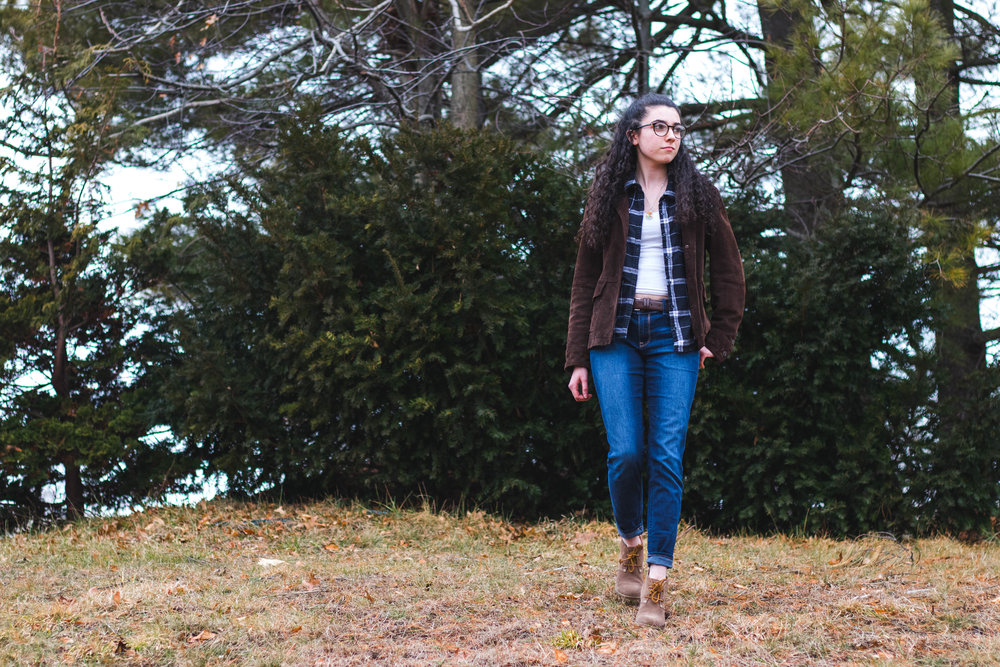 Jess DeLucia wearing a dark blue flannel