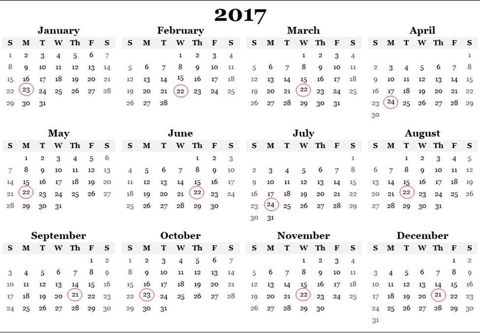 2017 Payment Calendar