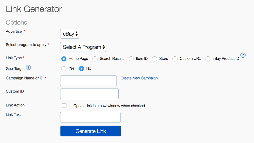 Screenshot of the Link Generator Tool
