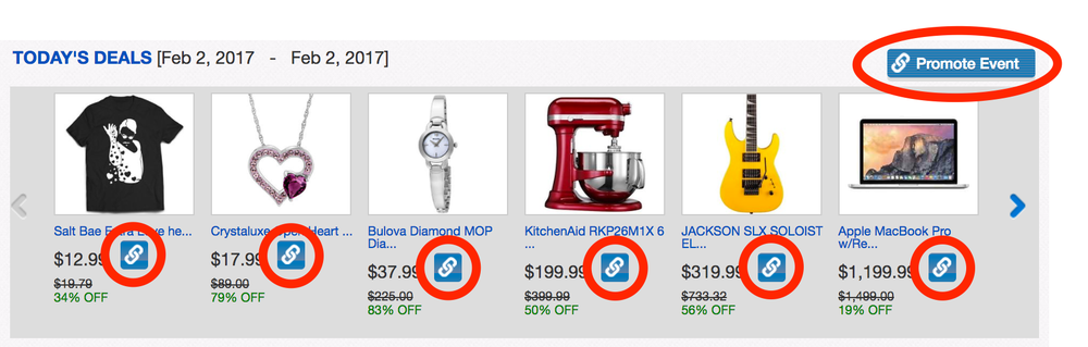 Screenshot of the Promotions and Sales Portal, with link icons circled