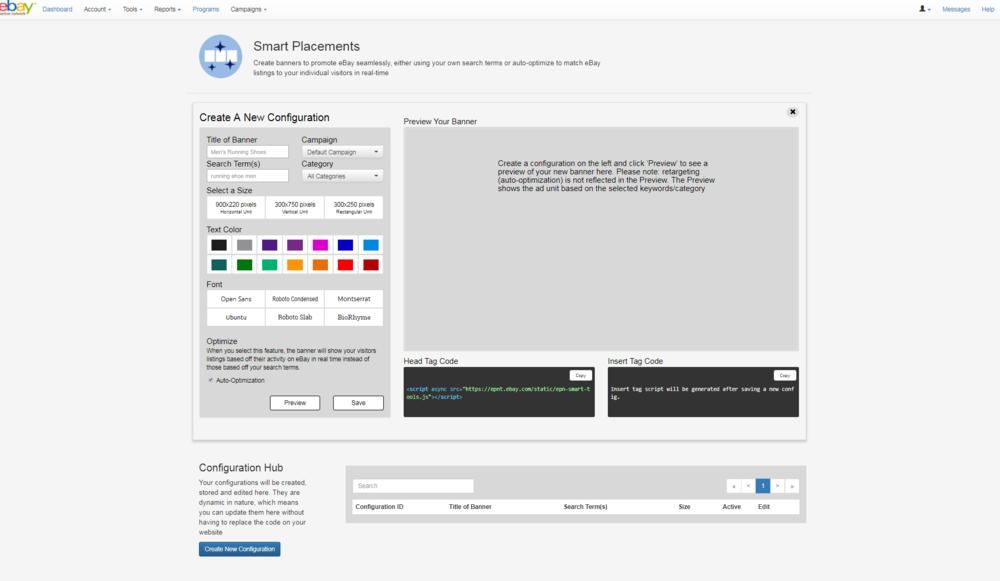 Create New Configuration screen