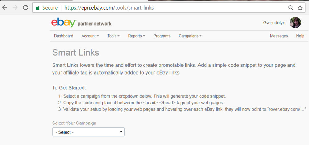 Screenshot of EPN tools Smart Links interface.