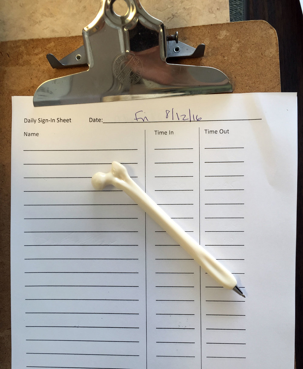Sign in sheet at the physical therapy clinic where we did our contextual inquiry