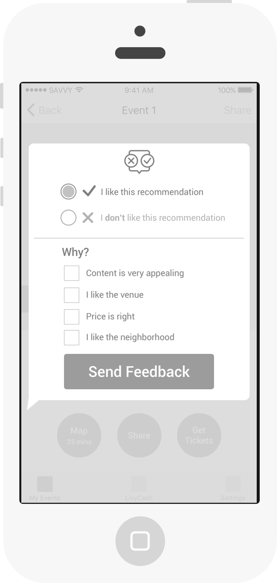 Example of user feedback modal