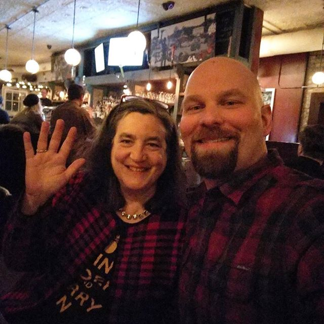 Of course our board members randomly run into each other at @thenorthmanchi (Eleanor of @edenciders & Eric of @stemciders)