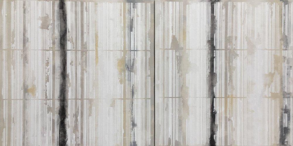 "Bar Code series , Acrylic on canvas, set of 2 panels, 20"" x 20"" each 2016."