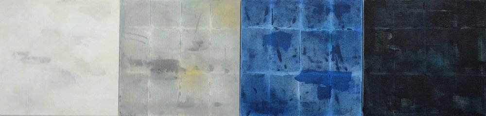"""Off the Grid.  Acrylic on canvas, Set of 4 Panels, 24"""" x 24"""" each."""