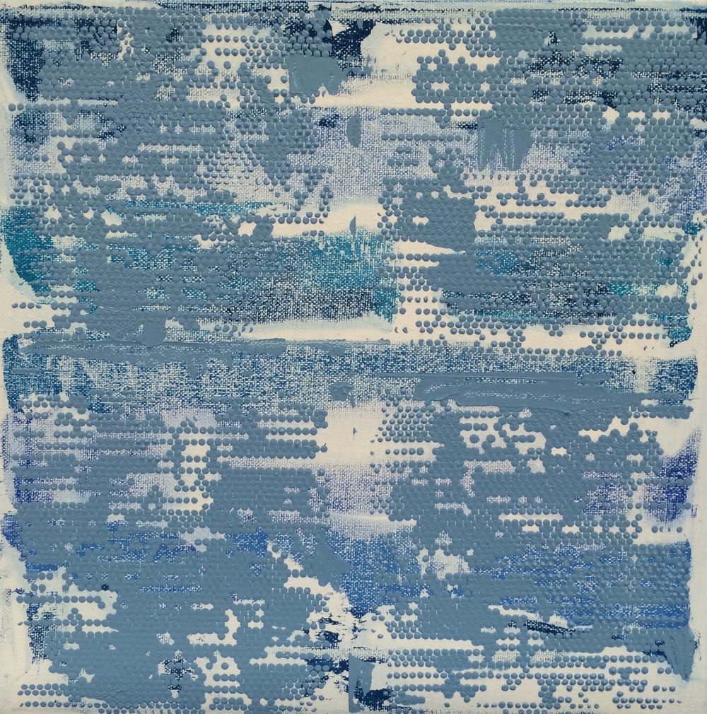 "Bright blue Dot Matrix, 12' x 12"", 2015"