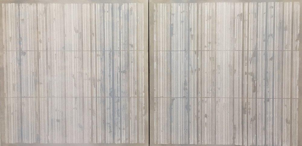 "Light Blue and Grey Bar Codes, Acrylic on canvas,  2 panels, 36"" x 36"" each 2016"