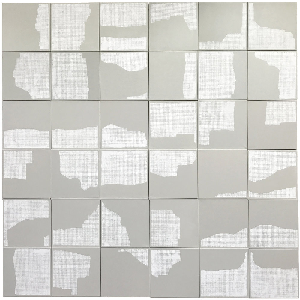 """Networking,  Acrylic on canvas, 36 panels, 12"""" x 12"""" each, total dimension 72"""" x 72"""", 2017."""