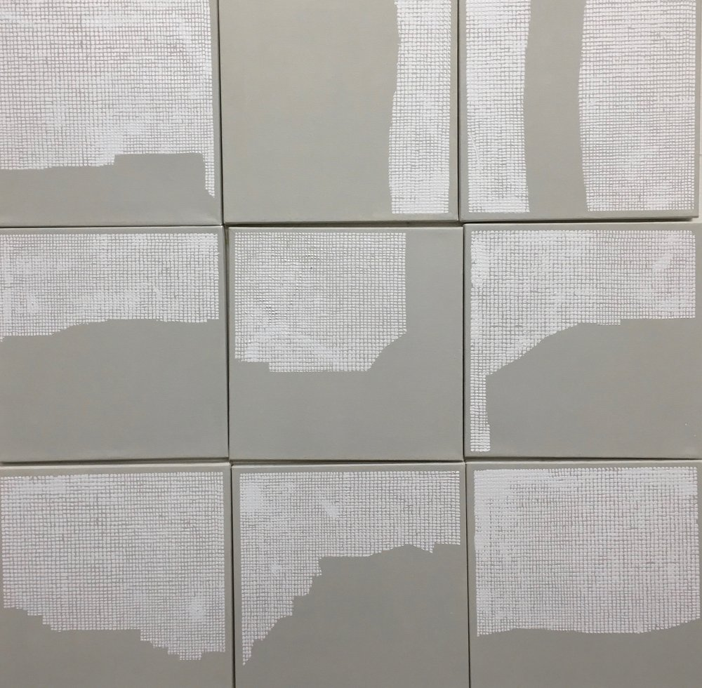 14.Manheimer_ Networking, 2017, installation of 12  panels, 12%22 x 12%22 each, total dimension 36%22 x 36%22, acrylic on canvas.jpg