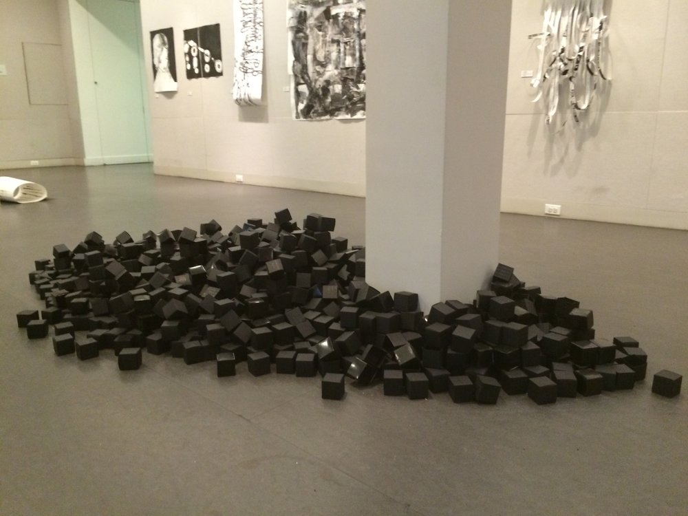 11.Center Gallery Installation, Manheimer_In Memoriam Looking for the Black Box 2016, paper boxes with acrylic paint.jpg