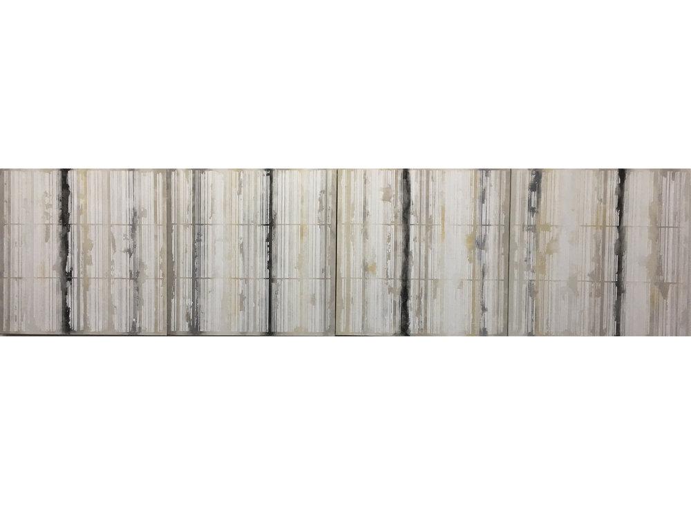 37.Manheimer_Bar Code Series, 2016, 4 panels,20%22x20 each, total dimension 20%22 x 80%22, acylic on canvas.jpg
