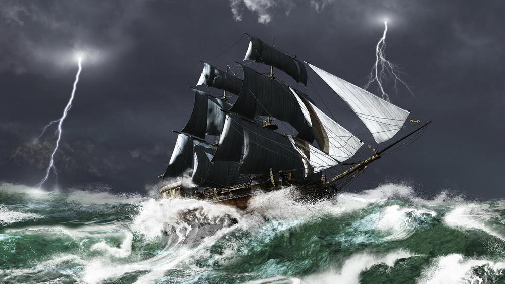 """Illustrasjonsbilde: Etter 31 år i tjeneste forliste """"Lossen"""" i en kraftig storm julaften 1717."""