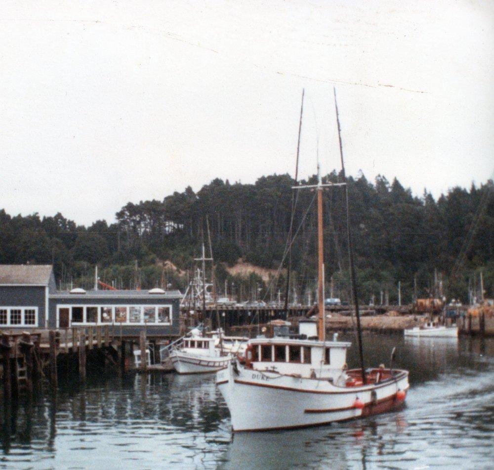 Duke in Noyo Harbor, Fort Bragg, California. 1990s