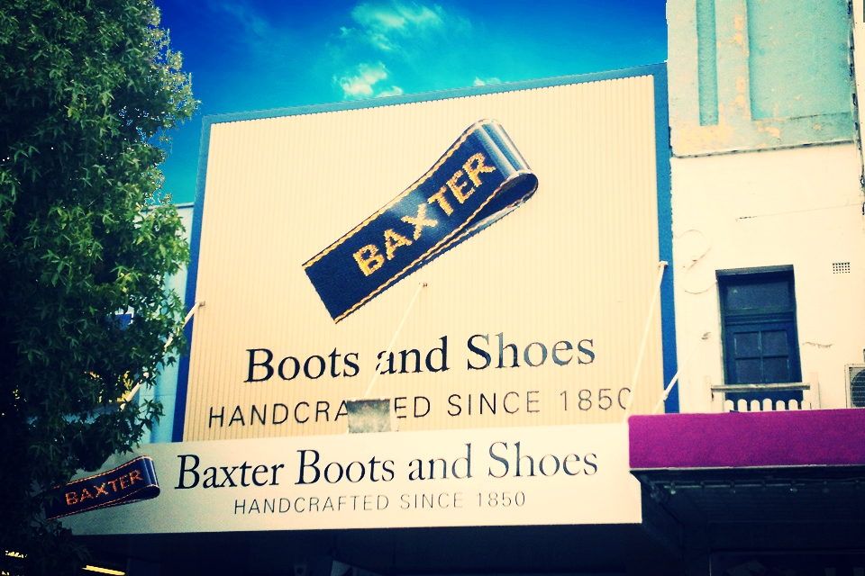 Baxter Boots Shop Sign Goulburn