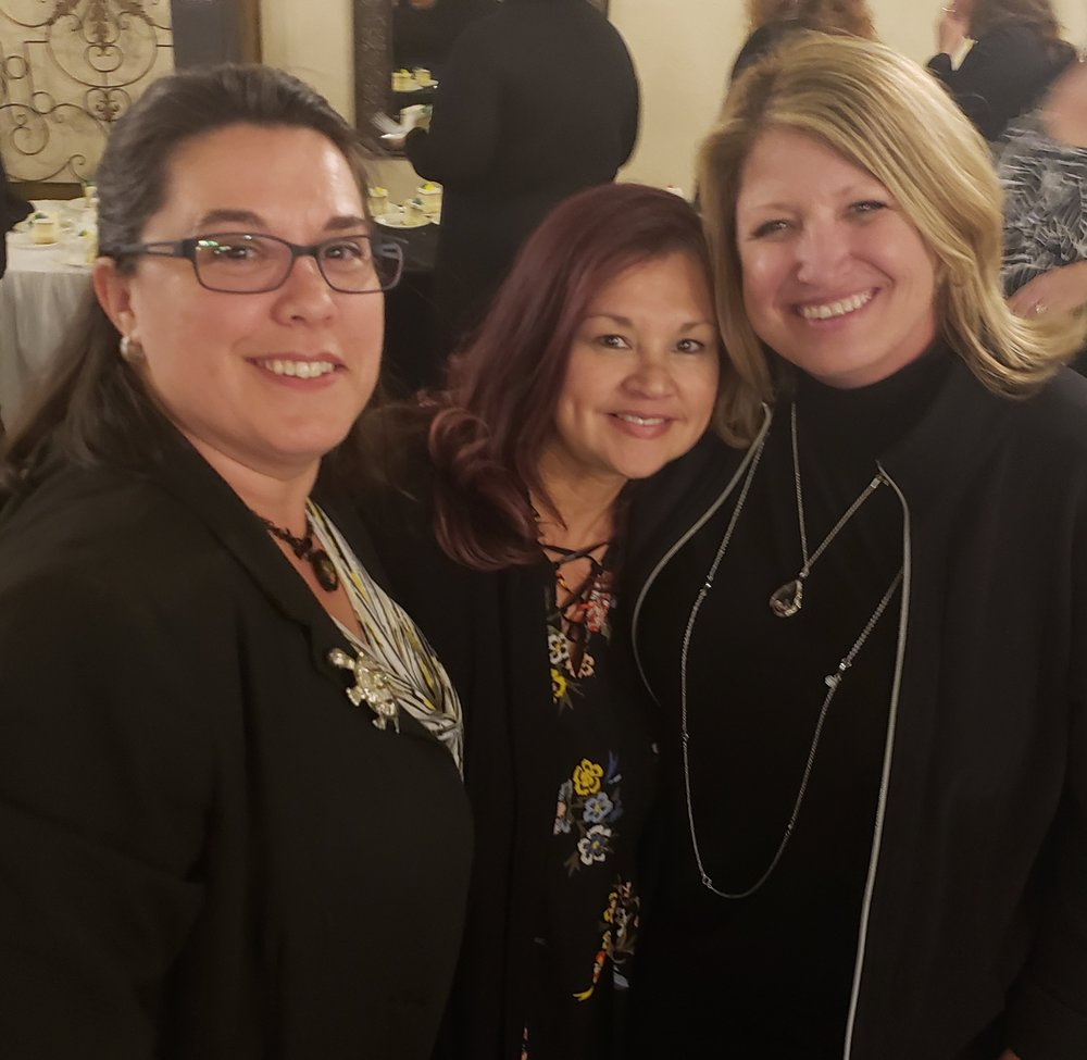 Sarah Rico and Lori Ortell congratulate Beth Heyden, newly honored 2018 Riverside County Educational Office Profession of the Year.