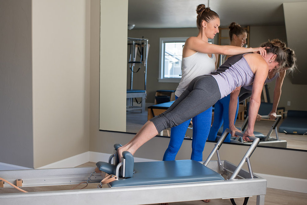 Emily Smith-Wilson providing a private pilates session in Bozeman, Montana