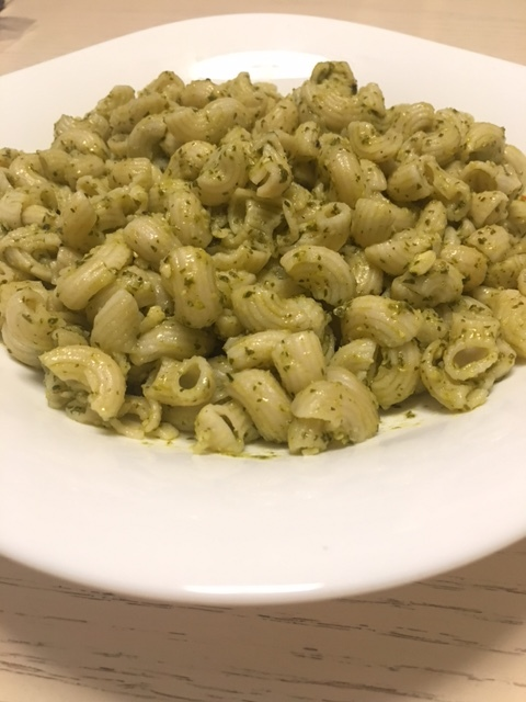Spinach Pesto with Rice Macaroni Pasta