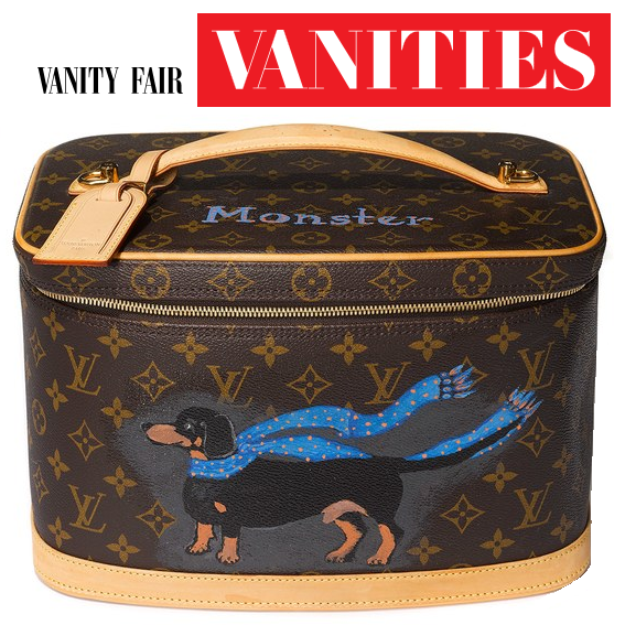 """365411b001 """"I can brag about being one of Bergen Bags s first clients  Bergen painted  my beloved dog Monster on a Louis Vuitton vanity case I use as a scarf  holder."""""""