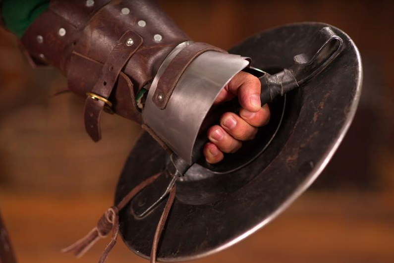 Replica of an original buckler, courtesy of the medieval-armor experts at  www.steel-mastery.com .