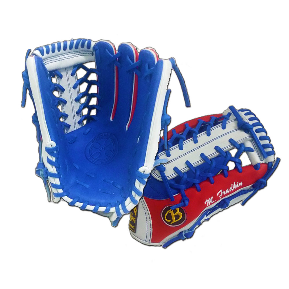 "Custom by Fradkin   ·       Size : 12.75""  ·       Leather : Premium USA Steerhide  ·       Web : T-Net  ·       Glove Color : Royal Blue 