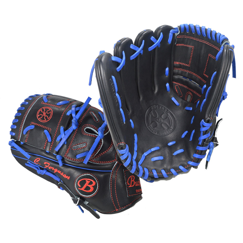 "Custom by Ferguson ·      Size: 12"" ·      Web: Split-solid ·      Glove Color: Black ·      Lace Color: Royal Blue ·      Welting: Royal Blue 