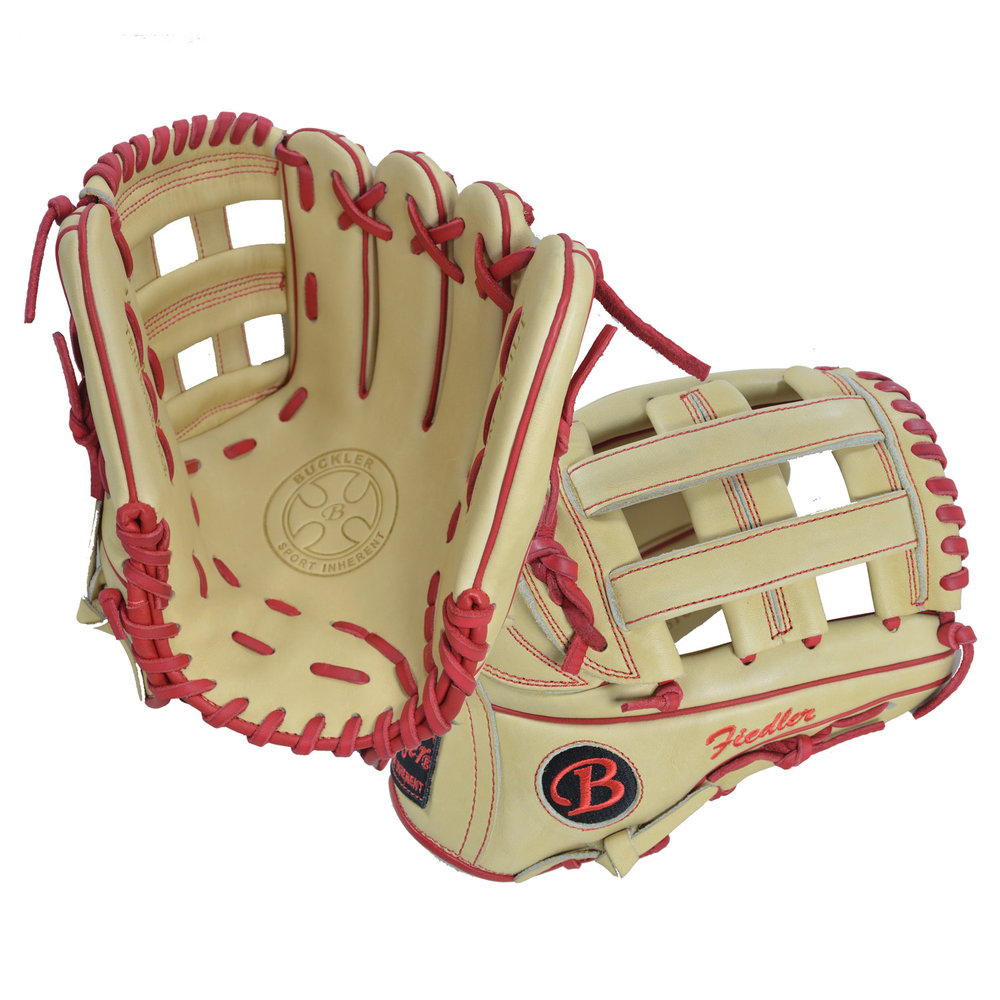 "Custom by Fiedler ·      Size: 11.75"" ·      Web: H-web ·      Glove Color: Camel ·      Lace Color: Red ·      Welting: Red ·      Binding: Red ·      Stitchwork: Red ·      Back: Open ·      Throw: Right"