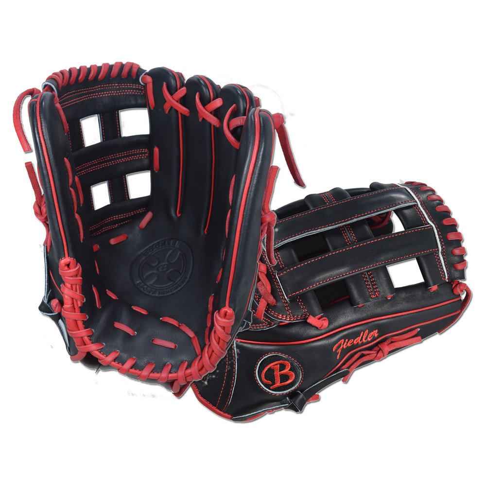 "Custom by Fiedler ·      Size: 12.75"" ·      Web: H-web ·      Glove Color: Black ·      Lace Color: Red ·      Welting: Red ·      Binding: Red ·      Stitchwork: Red ·      Back: Open ·      Throw: Right"