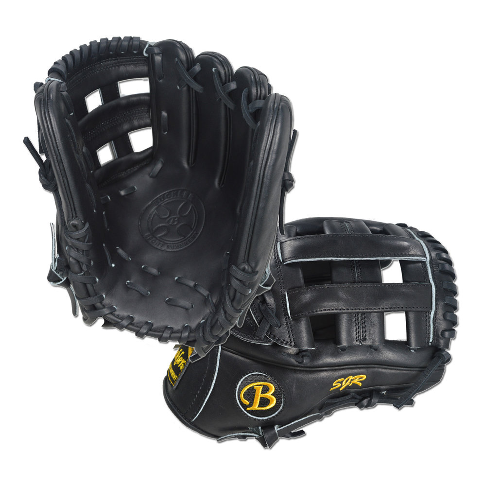 "Custom by Moyer ·      Size: 11.5"" ·      Web: H-web ·      Glove Color: Black ·      Lace Color: Black ·      Welting: Black ·      Binding: Black ·      Stitchwork: Black 