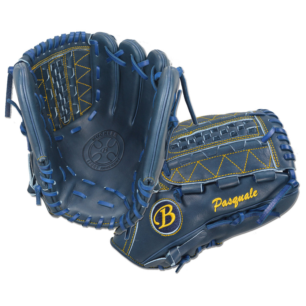 "Custom by Pasquale ·      Size: 11.75"" ·      Web: Dual Hinge ·      Glove Color: Navy ·      Lace Color: Navy ·      Welting: Navy ·      Binding: Navy ·      Outer Stitch: Gold ·      Back: Open ·      Throw: Right"