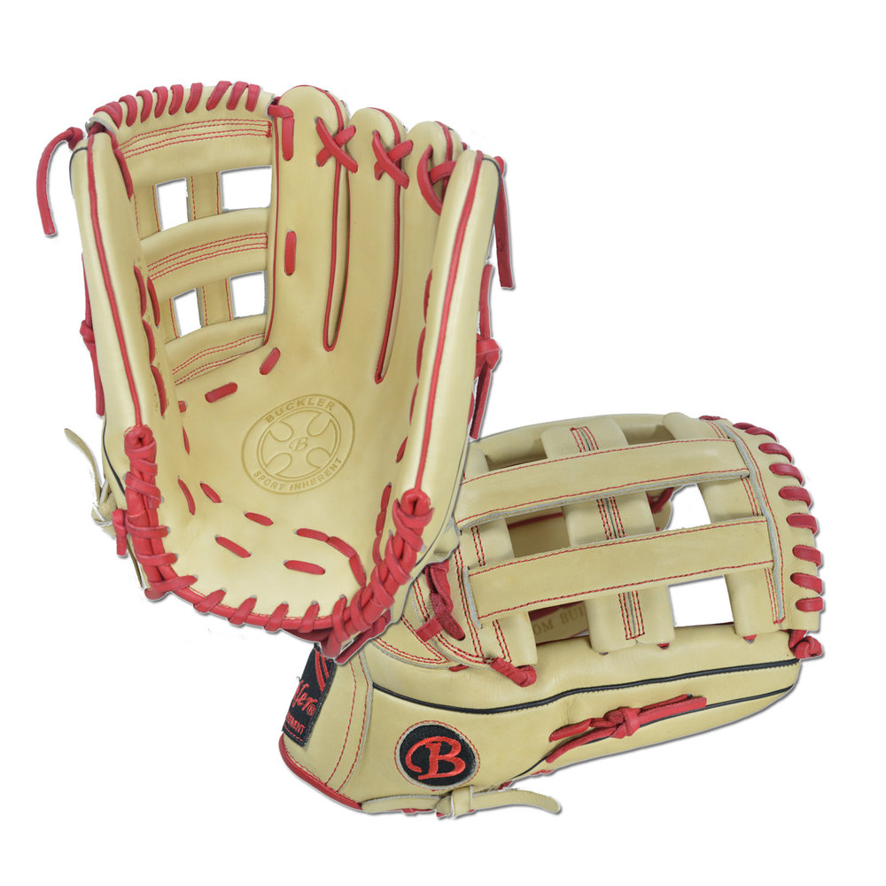 "Custom by Egan ·      Size: 13"" ·      Web: H-web ·      Glove Color: Camel ·      Lace Color: Red ·      Welting: Red 