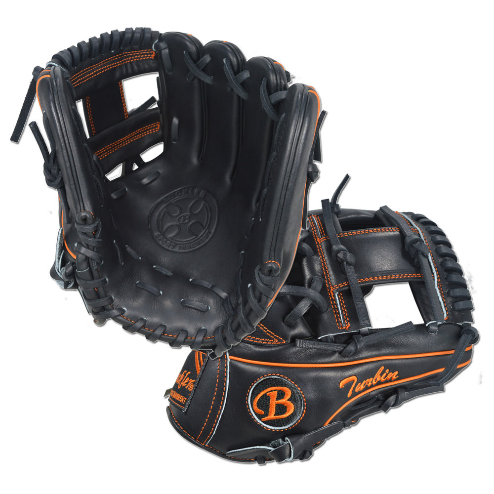 "Custom by  Turbin ·      Size: 11.5"" ·      Web: I-web ·      Glove Color: Black ·      Lace Color: Orange ·      Welting: Black 