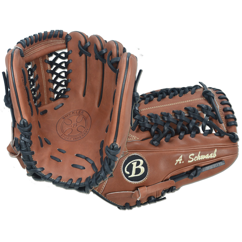 "Custom by Schwaab ·      Size: 11.5"" ·      Web: T-net ·      Glove Color: Mocha ·      Lace Color: Black ·      Welting: Black 