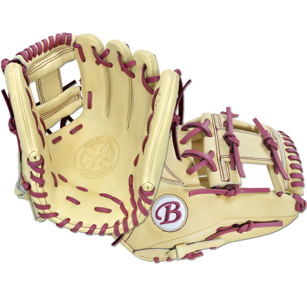"Custom by Bennett ·      Size: 11.5"" ·      Web: I-web ·      Glove Color: Camel ·      Lace Color: Burgundy ·      Welting: Camel ·      Binding: Camel ·      Outer Stitch: Burgundy ·      Back: Open ·      Throw: Right"