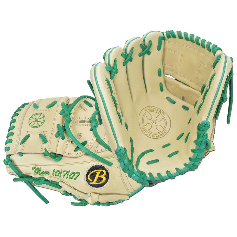"Custom by Walker ·      Size: 11.5"" ·      Web: Split-solid ·      Glove Color: Camel ·      Lace Color: Green ·      Welting: Camel 