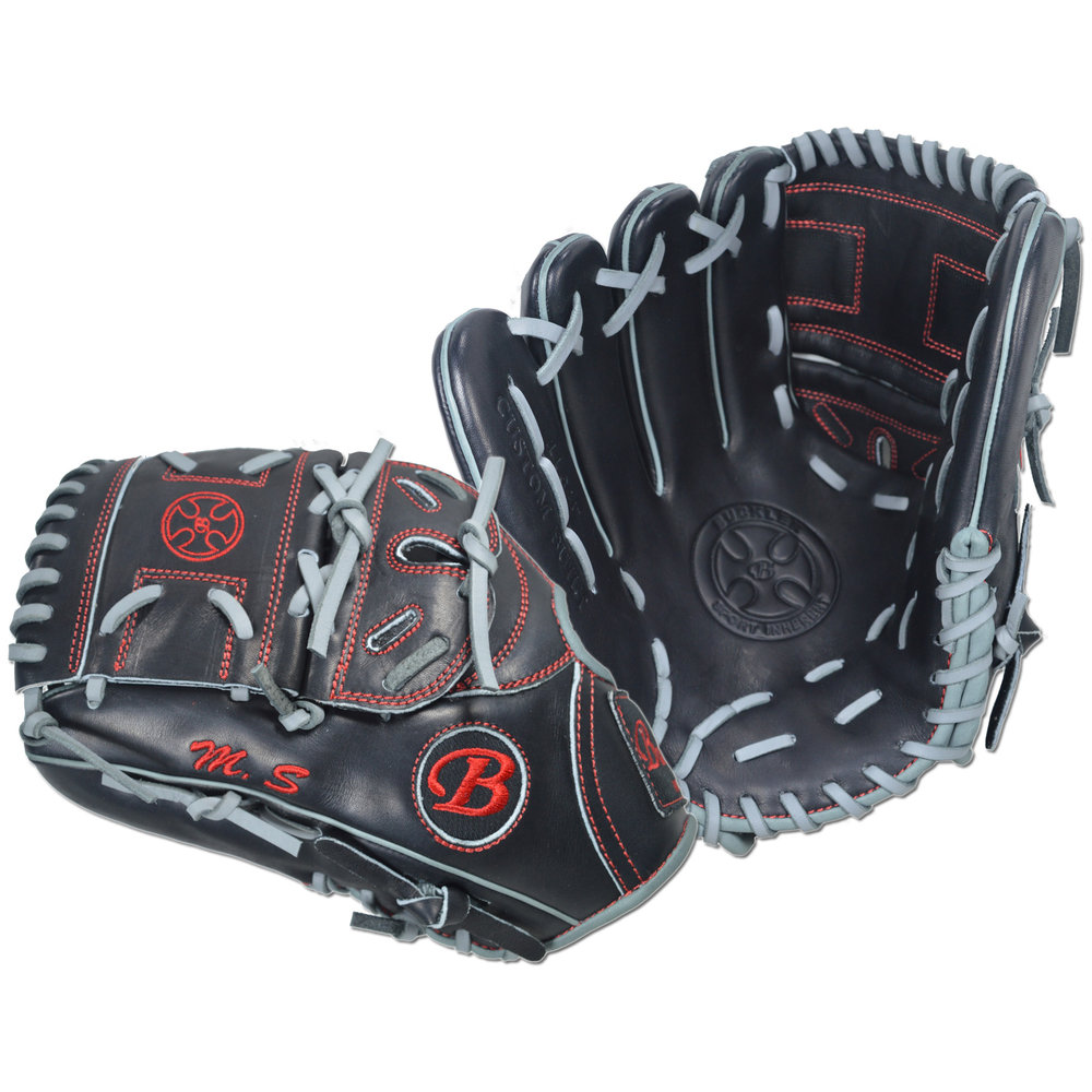 "Custom by Bierman ·      Size: 11.75"" ·      Web: Split-solid ·      Glove Color: Black ·      Lace Color: Gray ·      Welting: Gray ·      Binding: Gray ·      Outer Stitch: Red ·      Back: Open ·      Throw: Left"