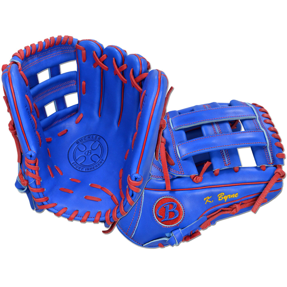 "Custom by Byrne ·      Size: 11.75"" ·      Web: H-web ·      Glove Color: Royal Blue ·      Lace Color: Red ·      Welting: Red ·      Binding: Royal Blue ·      Outer Stitch: Red 